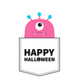 happy halloween pink monster silhouette in the vector image vector image