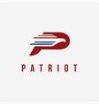 letter p for patriot logo icon template vector image vector image