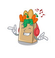 listening music grocery bag isolated vector image vector image