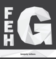 lowpoly letters e f g h isolated on dark vector image