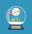 merry christmas glass ball with santa sleigh vector image vector image