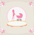 mother silhouette with baby stroller card vector image vector image