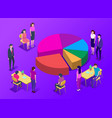 people in a team build a pay chart interact vector image vector image