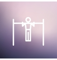 Pull up exercise in bar thin line icon vector image vector image