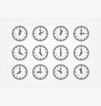 retro style clock silhouettes with different vector image vector image