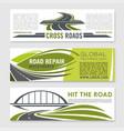 road highway crossroad and bridge banner set vector image vector image