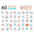 set line icons sweets vector image vector image