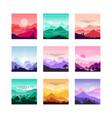 set minimalistic flat original landscapes vector image vector image