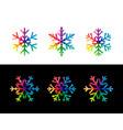 set of rainbow snowflakes vector image vector image