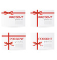 set white gift boxes tied with red ribbons and vector image