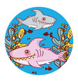 sharks fishes animal with seaweed plants vector image