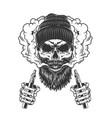 skull wearing beanie hat in smoke cloud vector image vector image