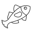 small fish icon outline style vector image vector image