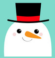 snowman face head carrot nose black hat merry vector image