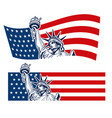 statue of liberty nyc usa flag symbol vector image vector image