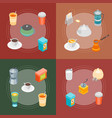 tea and coffee banner card set 3d isometric view vector image vector image