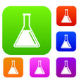 test tube with oil set collection vector image vector image