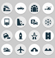 transport icons set with hump bridge dangerous vector image vector image