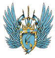 vintage crest with wings vector image vector image