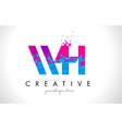 wh w h letter logo with shattered broken blue vector image vector image