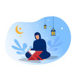 woman is reading al quran on night ramadan day