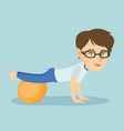 young caucasian woman exercising with fitball vector image vector image