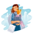 Young Mother with Baby Girl Shopping vector image vector image