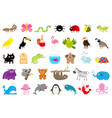 zoo pet wild animal set cute character ant vector image vector image