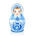 Blue Russian doll Matreshka in gzhel style vector image