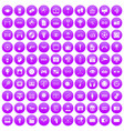100 video icons set purple vector image vector image