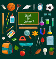 back to school lettering on blackboard stationery vector image vector image