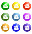 big lunchbox icons set vector image vector image