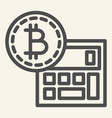 bitcoin calculator line icon accounting and vector image vector image