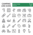 camping line icon set hiking symbols collection vector image