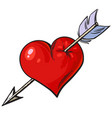cartoon red heart pierced an arrow vector image vector image