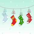 Christmas socks text frame vector image vector image