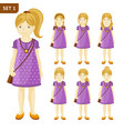 collection of cute little blonde girls with vector image