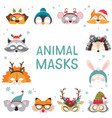collection of winter animal masks and christmas vector image vector image