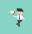 cute businessman or manager holding megaphone vector image