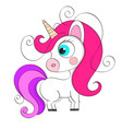 cute cartoon character unicorn print for baby vector image