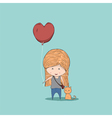 Cute cartoon girl holding heart-shaped vector image