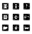Equipment for bathroom icons set grunge style vector image vector image