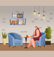 female breaktime with mug in coffeehouse vector image