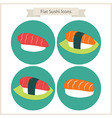 Flat Food Sushi Circle Icons Set vector image