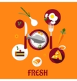 Fresh food flat design vector image vector image