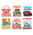 funfair and amusement park attraction icons vector image vector image