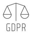 gdpr libra thin line icon privacy and security vector image vector image