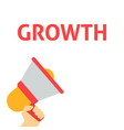 hand holding megaphone with growth announcement vector image