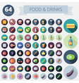 Icons For Food Drinks Fruits and Vegetables vector image vector image