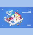 isometric banner for time management or schedule vector image vector image